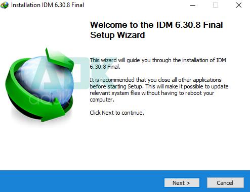 chạy file cài đặt idm